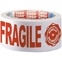 "tesa Printed ""Fragile"" Packaging Tape 50 mm x 66 m White, Red"