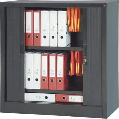 Realspace Tambour Cupboard Lockable with 1 Shelf Steel 1000 x 450 x 1000mm Black