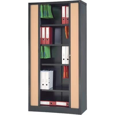 Realspace Tambour Cupboard RS Pro Black, Beech 1,000 x 450 x 1,980 mm
