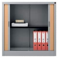 Realspace Tambour Cupboard Lockable with 1 Shelf Steel 1000 x 450 x 1000mm Silver & Beech