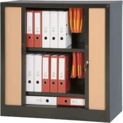 Realspace Pro Tambour Cupboards - Black/Beech 1000 H x 1000 W x 450 D mm