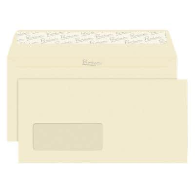 Premium Business DL Wallet Envelopes 110 x 220 mm Peel and Seal Window 120g/m² Cream Wove 500 Pieces