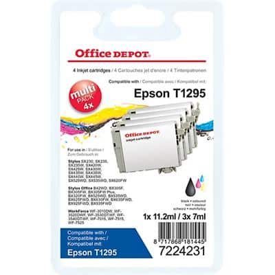 Office Depot Compatible Epson T1295 Ink Cartridge C13T12954012 Black & 3 Colours 4 Pieces
