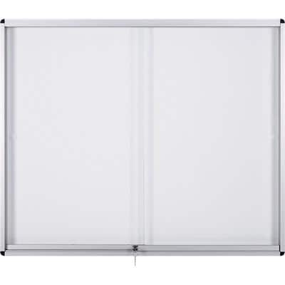 Bi-Office Wall Mountable Lockable Noticeboard Exhibit Indoor 92.6 x 66.1cm White