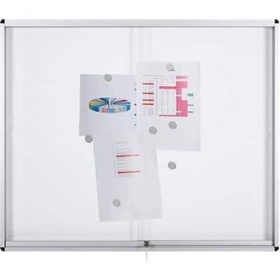 Bi-Office Lockable Noticeboard Exhibit Magnetic White 92.6 x 96.7 cm