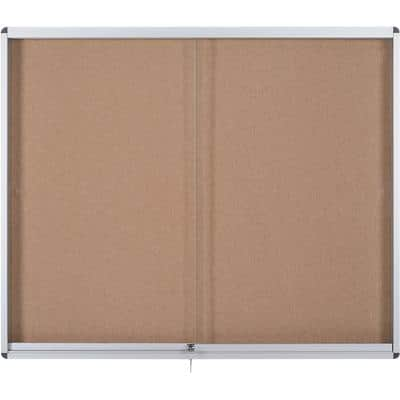 Bi-Office Wall Mountable Lockable Noticeboard Exhibit Indoor 92.6 x 96.7cm Brown