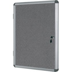 Bi-Office Display Case Enclore Indoor Felt Grey 128.8 x 94 x 3.5 cm