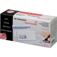 PROFESSIONAL DL Envelopes 225 x 112 mm Flap Window 90gsm White Pack of 100