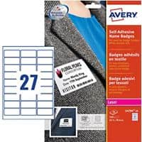 Avery Name Bagdes L4784-20 635 x 296 mm 20 Sheets of 27 Labels