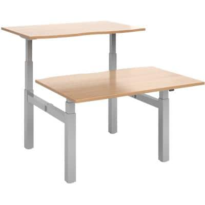 Elev8² Rectangular Sit Stand Back to Back Desk with Beech Coloured Melamine Top and Silver Frame 4 Legs Touch 1200 x 1650 x 675 - 1300 mm