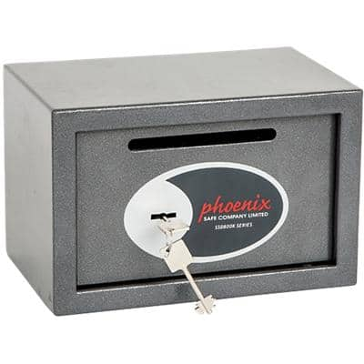 Phoenix Deposit Home & Office Size 1 Security Safe with Key Lock 10L Vela SS0801KD  200 x 310 x 200mm Metallic Graphite