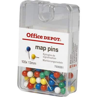 Office Depot Map Pins Assorted 5 x 13mm Pack of 100