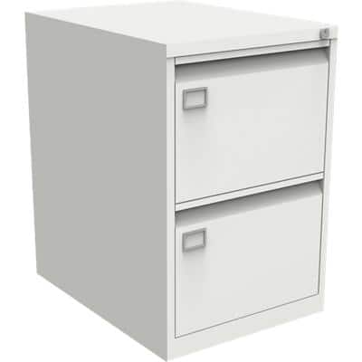 Bisley Filing Cabinet with 2 Lockable Drawers AOC2 470 x 622 x 711mm White
