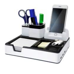 Monolith Desk Organiser Phone Charger plastic White and Black