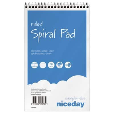 Niceday Spiral Pad Ruled 125 x 200 mm 20 x 12.5 cm 5 pieces of 50 sheets