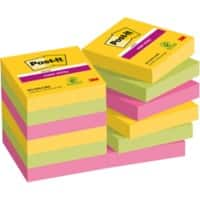 Post-it Super Sticky Notes 47.6 x 47.6 mm Rio De Janeiro Assorted Colours 12 Pads of 90 Sheets