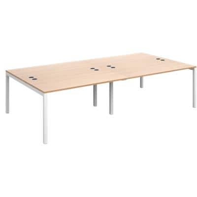 Rectangular Double Back to Back Desk with Beech Coloured Melamine & Steel Top and White Frame 6 Legs Connex 2800 x 1600 x 725 mm