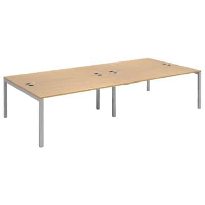 Dams International Rectangular Double Back to Back Desk with Oak Coloured Melamine Top and Silver Frame 4 Legs Connex 3200 x 1600 x 725mm