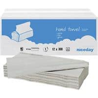 Niceday Hand Towels Standard 1 Ply V-fold White 300 Sheets Pack of 12