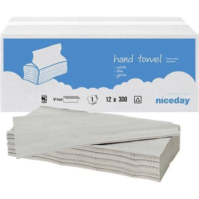 Niceday Hand Towels Standard 1 Ply V-fold White 12 Pieces of 300 Sheets