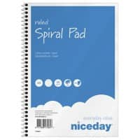 Niceday Spiral Pad Blue, White A5 Ruled Not perforated 5 Pieces of 50 Sheets
