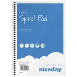 Niceday Spiral Pad Blue, White Ruled unperforated A5 Pack 5