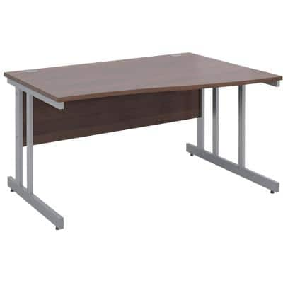 Freeform Right Hand Design Wave Desk with Walnut MFC Top and Silver Frame Adjustable Legs Momento 1400 x 990 x 725 mm