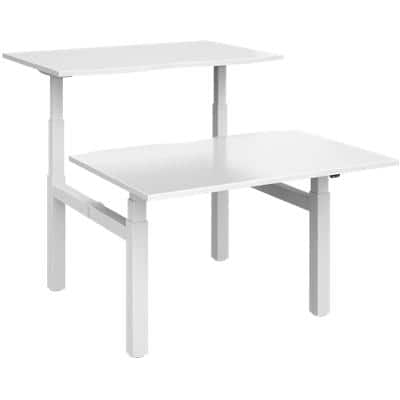 Elev8² Rectangular Sit Stand Back to Back Desk with White Melamine Top and White Frame 4 Legs Touch 1200 x 1650 x 675 - 1300 mm