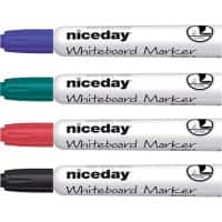 Niceday Whiteboard Marker WCM1-5 Chisel Black, Blue, Red, Green Pack 4