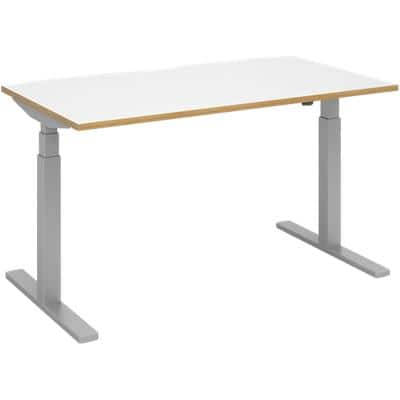Elev8 Rectangular Sit Stand Single Desk with White & Oak Coloured Melamine Top and Silver Frame 2 Legs Touch 1400 x 800 x 675 - 1300 mm