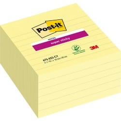 Post-it Super Sticky Notes Canary Yellow Ruled 101 x 101 mm 70gsm 6 pieces of 90 sheets