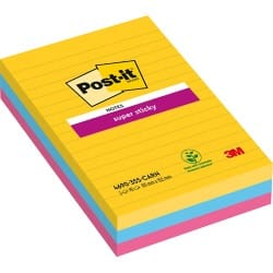 Post-it Super Sticky Notes Rio Assorted Ruled 152 x 101 mm 70gsm 3 pieces of 90 sheets