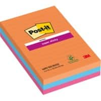 Post-it Super Sticky Large Lined Notes 101 x 152 mm Bangkok Assorted Colours 3 Pads of 90 Sheets