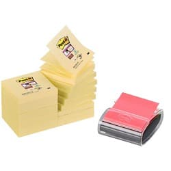 3M Z-Note Dispenser Canary Yellow 76 x 76 mm 70gsm 16 pieces of 90 sheets