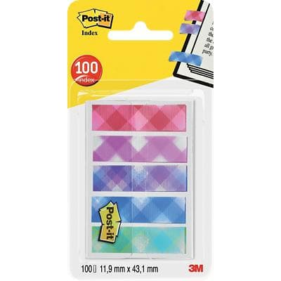 Post-it Index Flags Pattern 11.9 x 43.2 mm Assorted 20 x 5 Pack