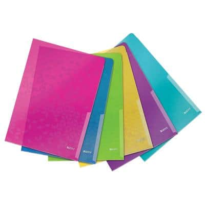 Leitz Document Wallets WOW A4 Assorted Polypropylene 22 x 0.1 x 31 cm 6 Pieces