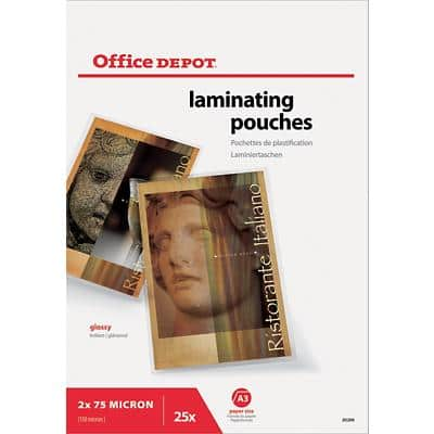 Office Depot Laminating Pouches Glossy 2 x 75 (150 Micron) A3 Packs of 25
