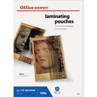 Office Depot Laminating Pouches Glossy 2 x 175 (350 Micron) A4 Pack of 100