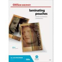 Office Depot Laminating Pouches Glossy 2 x 250 (500 Micron) A4 Pack of 100