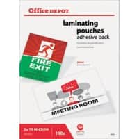 Office Depot Adhesive Back Laminating Pouches Glossy 2 x 75 (150 Micron) A4 Pack of 100