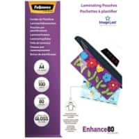 Fellowes Laminating Pouches Glossy 2 x 80 (160 Micron) A4 100 Pieces