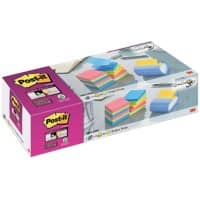 Post-it Z-Notes Dispenser Blue with Super Sticky Z-Notes 76 x 76 mm Rio and Bangkok Assorted Colours 12 Pads of 90 sheets