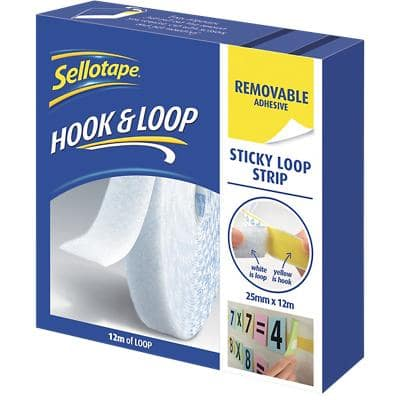 Sellotape Sticky Loop Strip Removable White 12m