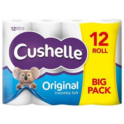 Cushelle Paper 2 Ply Toilet Rolls Comfort White 12 Rolls 180 Sheets