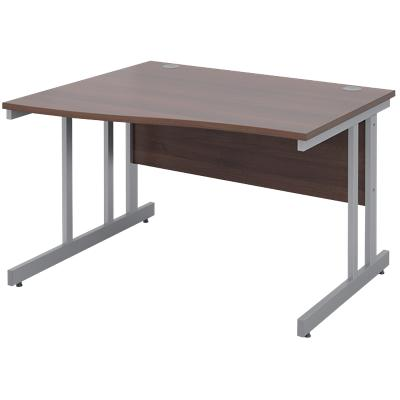 Freeform Left Hand Design Wave Desk with Walnut MFC Top and Silver Frame Adjustable Legs Momento 1200 x 990 x 725 mm
