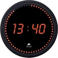 Alba Digital Wall Clock HORLED 30 x 4cm Black