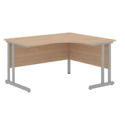 Corner Desk Radial Right Desk with Oak Coloured MFC Top and Silver Frame Optima C 1400 x 1200 x 720mm
