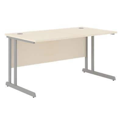 Rectangular Straight Desk with Maple Coloured MFC Top and Silver Frame Optima C 1200 x 800 x 720mm