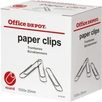 Office Depot Paper Clips Round 25 mm Silver 1000 Pieces