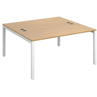Dams International Rectangular Starter Unit Back to Back Desk with Oak Coloured Melamine Top and White Frame 4 Legs Connex 1400 x 1600 x 725mm